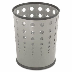 Safco Round 6 Gallon Bubble Wastebasket, Steel, Gray (SAF9740GR)