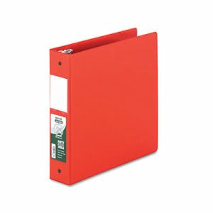 Clean Touch Antimicrobial Locking Round Ring Binder, Red (SAM14363)
