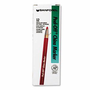 Sharpie Peel-Off China Markers, Red, Dozen (SAN2059)