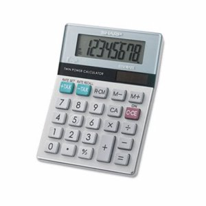 Sharp EL-310TB Twin Powered Semi-Desktop Calculator, 8-Digit LCD (SHREL310TB)