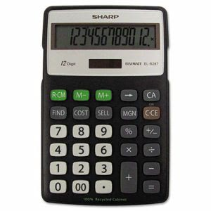 Sharp Recycled Series Calculator, 12-Digit, LCD, Black (SHRELR287BBK)