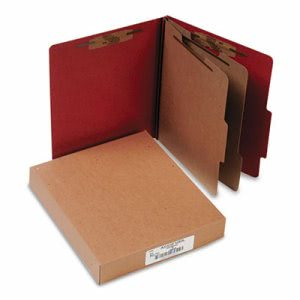 Pressboard Classification Folder, Letter, 6-Section, Red, 10 per Box (ACC15036)