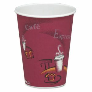 Solo Paper Hot Drink Cups, Paper, 8-oz., Bistro Design, 1,000 Cups (SCC378SI)