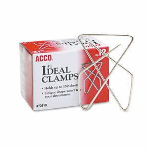 "Acco Ideal Clamps, Steel Wire, Large, 2-5/8"", Silver, 12/Box (ACC72610)"