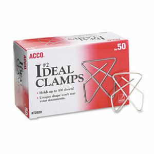 "Acco Ideal Clamps, Steel Wire, Small, 1-1/2"", Silver, 50/Box (ACC72620)"