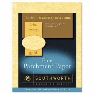 Southworth Parchment Specialty Paper, Gold, 24 lbs., 8-1/2 x 11, 100/Box (SOUP994CK)