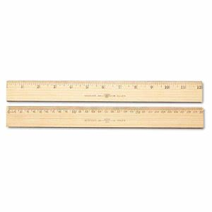 "Westcott Wood Ruler, Metric and 1/16"" Scale with Metal Edge, 30 cm (ACM10375)"