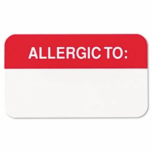 Tabbies Medical Labels for Allergies, 7/8 x 1-1/2, White, 250/Roll (TAB01000)