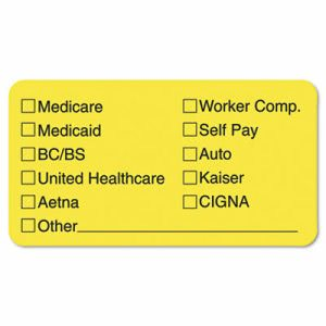 Tabbies Labels for Insurance List, 1-3/4 x 3-1/4, Yellow, 250/Roll (TAB02940)