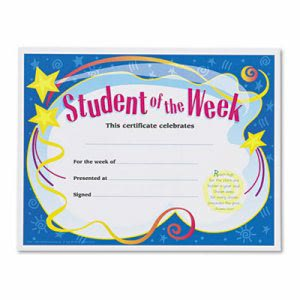 Trend Student of the Week Certificates, White Border, 30 Certificates (TEPT2960)