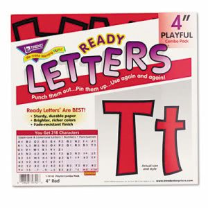 "Trend Ready Letters Playful Combo Set, Red, 4""h, 216/Set (TEPT79742)"