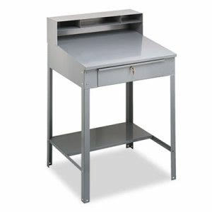 Tennsco Open Steel Shop Desk, 34-1/2w x 29d x 53-3/4h, Medium Gray (TNNSR57MG)