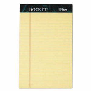 Tops Perforated Pad, Jr. Legal Ruling, 5 x 8, Canary,12 Pads (TOP63350)