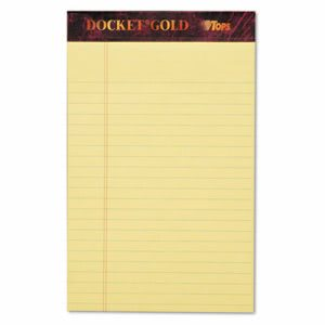 Tops Docket Gold Legal Ruled Perforated Pad, 5 x 8, Canary, 12 Pads (TOP63900)