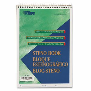 Tops Gregg Steno Books, 6 x 9, Green Tint, 80-Sheet Pad (TOP8021)