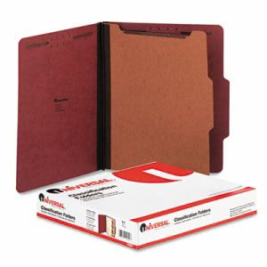 Pressboard Classification Folder, Letter, Four-Section, Red, 10/Box (UNV10250)