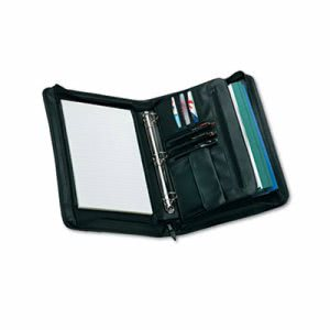 Universal Zip-Around Padfolio, Vinyl, 14-1/2 x 2-3/4 x 11-1/2, Black (UNV25650)