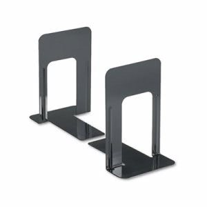 Universal Economy Bookends, Nonskid, 5 7/8 x 8 1/4 x 9, Steel, Blk (UNV54095)