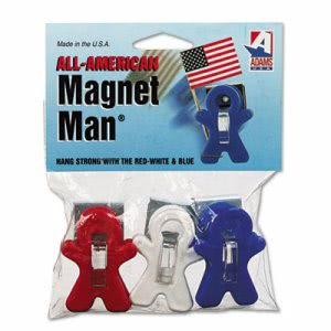 Adams Manufacturing Magnet Man Clip, Plastic, Assorted, 3/Pack (ADM3303523241)