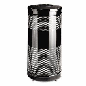Rubbermaid Perforated Open Top Receptacle, Steel, 25 galllon, Black (RCPS3ETBK)
