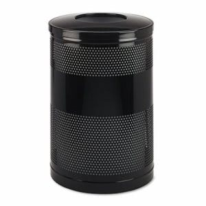 Rubbermaid 51 gal Perforated Open Top Round Steel Receptacle, Black (RCPS55ETBK)