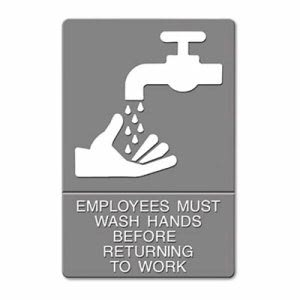 U.S. Stamp & Sign Employees Must Wash Hands ADA Sign, Each (UST 4726)