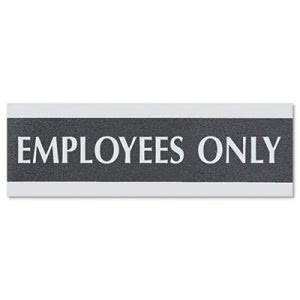 "Century Series Office Sign,""Employees Only"", 9 x 3, Black/Silver (USS4760)"