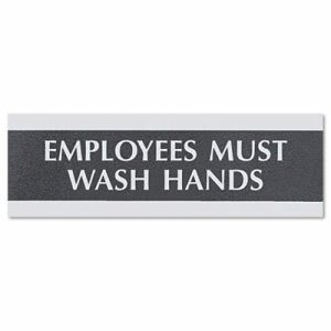 Headline Century Series Office Sign, Employees Must Wash Hands, 9 x 3 (USS4782)