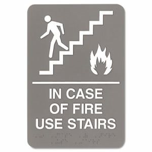 Headline Sign ADA Sign, 6 x 9, In Case of Fire Use Stairs, Gray (USS5400)