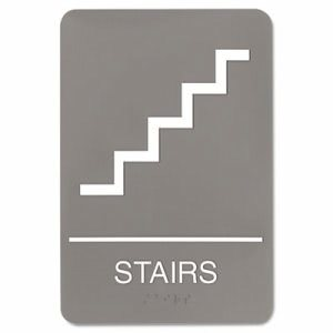Headline Sign ADA Sign, 6 x 9, Stairs, Gray (USS5401)