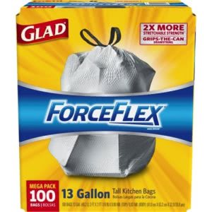 Glad ForceFlex 13 Gallon Drawstring Kitchen Trash Bags, 100 Bags (CLO 70427)