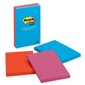 Post-it Notes 4 in x 6 in, Jaipur Colors, 3 Lined 100 Sheet Pads (MMM6603AU)