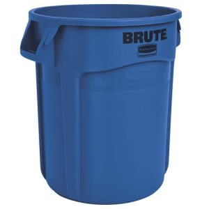 Rubbermaid 2632 Brute Round 32 Gallon Vented Trash Can, Blue (RCP 2632 BLU)