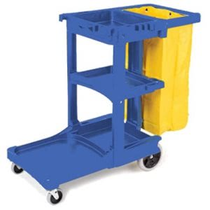 Rubbermaid Janitor Cleaning Cart, with Vinyl Bag, Blue (RCP617388BLU)