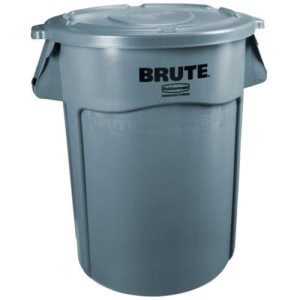 Rubbermaid 863292 Brute 32 Gallon Container with Lid, Gray (RCP863292GRA)