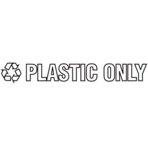 "Rubbermaid Recycling-Label Block-Letter Decal, ""Plastic Only"", 14 x 1 (RCPRSW3)"