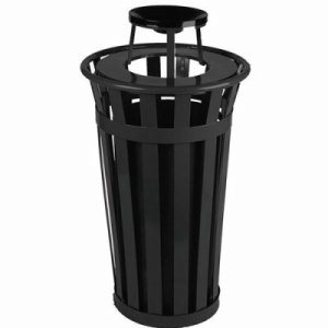 Witt 24 gal. Black Trash receptacle with ash top - Oakley Collection (WITT-M2401-AT-BK)