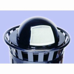 Witt 24 gal. Black Trash receptacle with dome top - Oakley Collection (WITT-M2401-DT-BK)