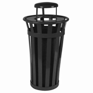 Witt 24 gal. Black Trash receptacle with rain cap - Oakley Collection (WITT-M2401-RC-BK)