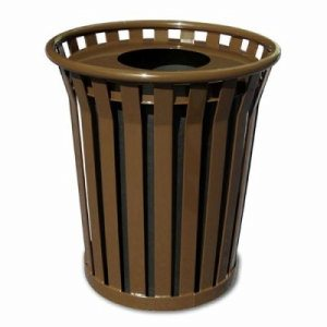 Witt 24 gal. Brown Trash receptacle and flat top lid - Wydman Collection (WITT-WC2400-FT-BN)