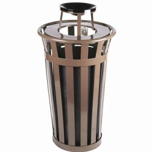 Witt 24 gal. Brown Trash receptacle with ash top - Oakley Collection (WITT-M2401-AT-BN)