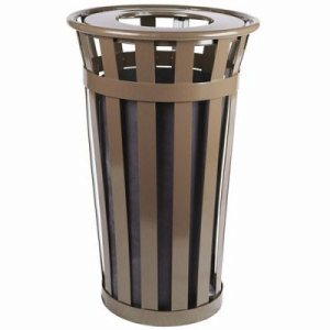 Witt 24 gal. Brown Trash receptacle with flat top - Oakley Collection (WITT-M2401-FT-BN)