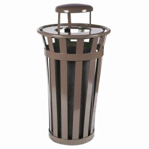 Witt 24 gal. Brown Trash receptacle with rain cap - Oakley Collection (WITT-M2401-RC-BN)