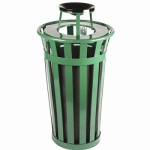 Witt 24 gal. Green Trash receptacle with ash top - Oakley Collection (WITT-M2401-AT-GN)