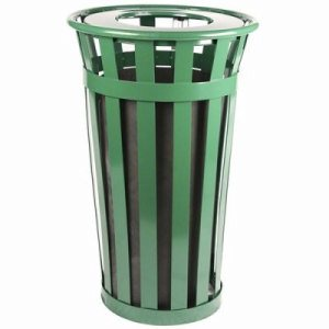 Witt 24 gal. Green Trash receptacle with flat top - Oakley Collection (WITT-M2401-FT-GN)