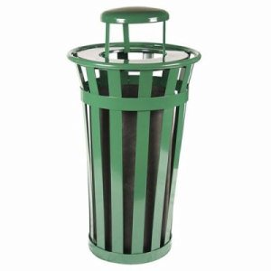 Witt 24 gal. Green Trash receptacle with rain cap - Oakley Collection (WITT-M2401-RC-GN)