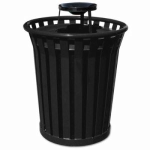 Witt 36 gal. Black Trash Receptacle and ash top - Wydman Collection (WITT-WC3600-AT-BK)
