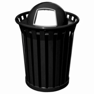 Witt 36 gal. Black Trash Receptacle and dome top - Wydman Collection (WITT-WC3600-DT-BK)