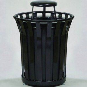 Witt 36 Gallon Steel Receptacle with Rain Cap, Black (WITT-WC3600-RC-BK)