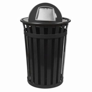 Witt 36 gal. Black Trash receptacle with dome top - Oakley Collection (WITT-M3601-DT-BK)